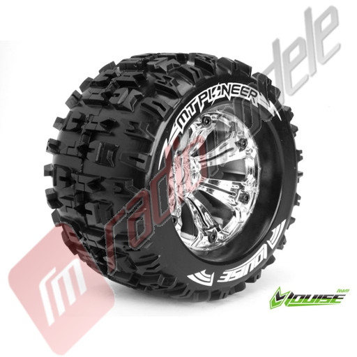 "Roti complete Louise RC MT-PIONEER chrome pentru automodele monster truck scara 1/8 Traxxas Style Bead 3.8"", offset 1/2, hex 17mm"