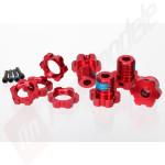 Set complet hex-uri 17mm aluminiu (rosu-anodizat), pentru automodele TRAXXAS 1/10