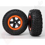 Roti complete, jante SCT negre cu margini portocalii cu anvelope SCT off-road racing S1 automodele TRAXXAS Slash