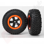 Roti complete, jante SCT black orange cu anvelope SCT off-road racing automodele TRAXXAS Slash
