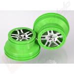 Jante SCT Split-Spoke crom satinat cu margine verde (profil dublu 2.2/3.0) automodele TRAXXAS Slash