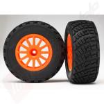 Roti complete cu jante portocalii si anvelope BFGoodrich Rally pentru pietris - TRAXXAS Rally VXL