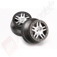 Jante SCT Split-Spoke crom satinat cu margine neagra (profil dublu 2.2/3.0) automodele TRAXXAS Slash